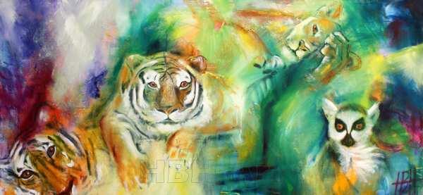 maleri af vilde dyr. tigre abe og liggende puma