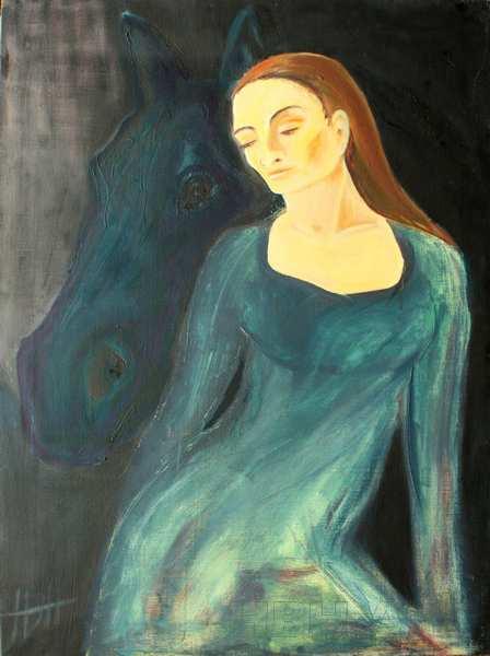 maleri af hest og kvinde i blå kjole med mørk baggrund