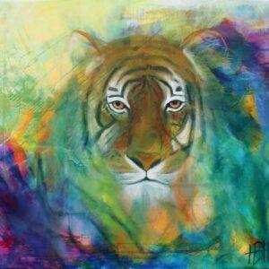 dyremaleri - maleri af tiger der kigger direkte på dig