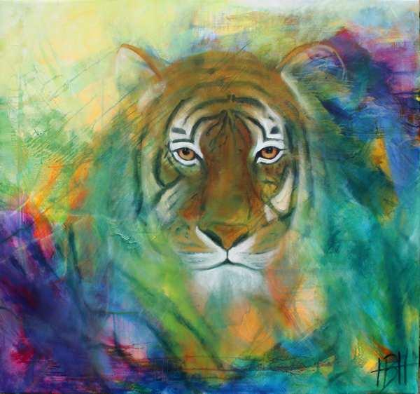 dyremalerier - maleri af tiger der kigger direkte på dig