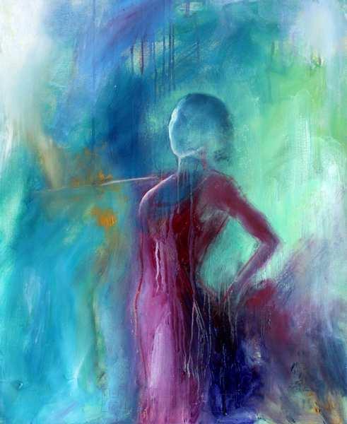 maleri af kvinde i blå farver og violet kjole