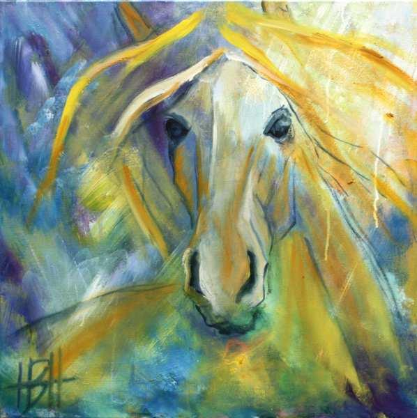 hestemaleri af gul hest med blålig baggrund