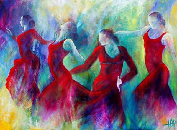 Dansemaleri af fire flamencodansere i røde kjoler