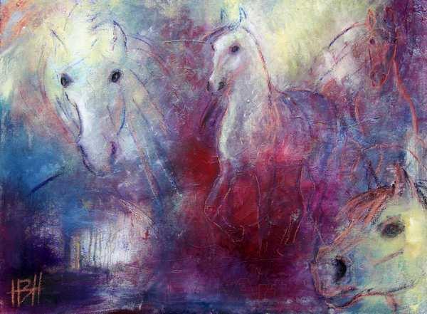 maleri af heste i violette farver