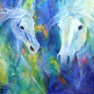 hestemaleri i blå farver. Hestene er lyse