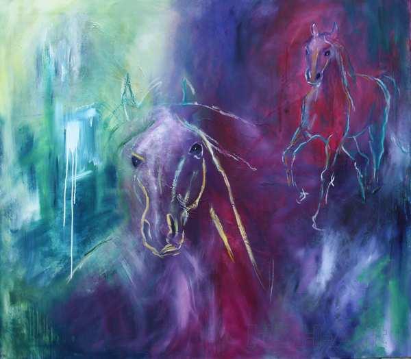 maleri af heste i blå og lilla farver