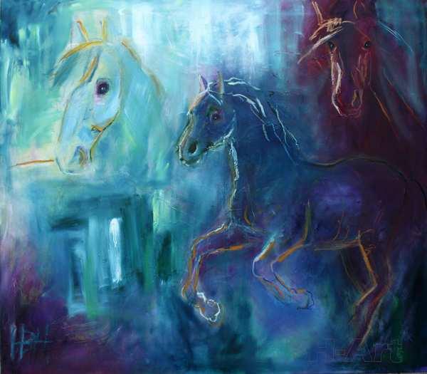 hestemaleri i blå farver