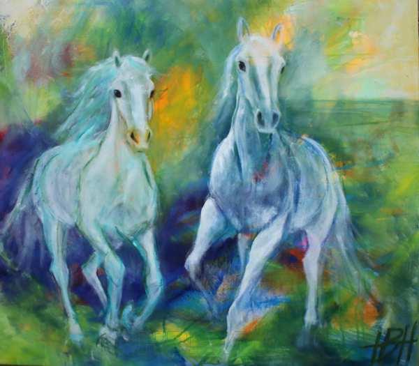 hestemaleri i blå og grønne farver