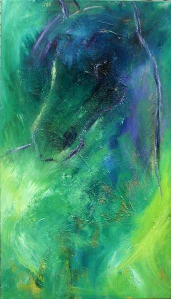 maleri af hest i grønne og blå farver