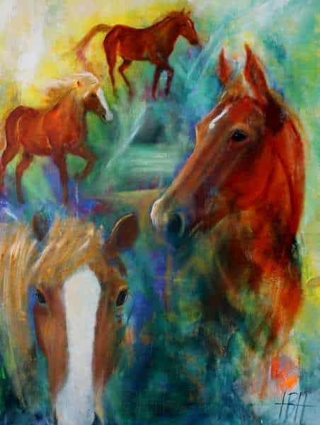 hesteportræt af to heste malet løst på farverig baggrund i blåt, grønt og gult