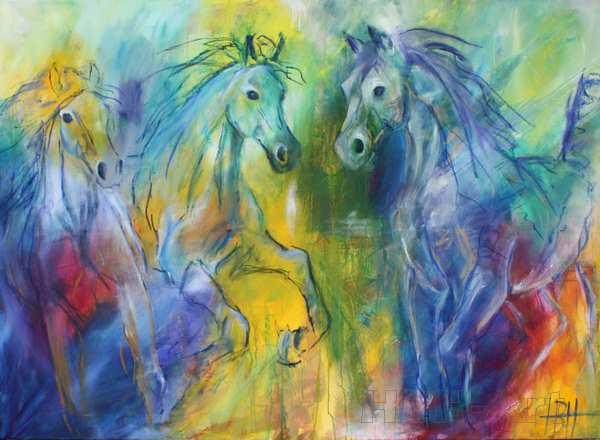 Maleri af heste på en farverig baggrund