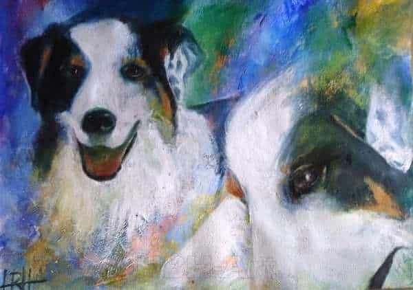 hundeportræt af hunden Bossie med to forskellige udtryk på en blå og grøn baggrund