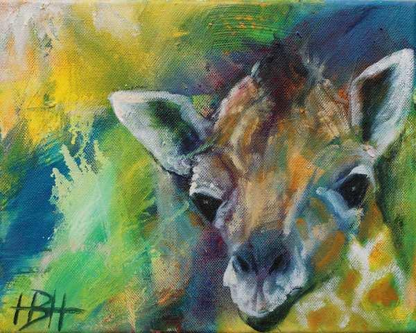 maleri af girafunges hoved