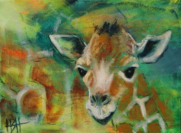 Lille maleri af girafunge - hvor moderen anes bagved. Girafungen kigger lige på dig