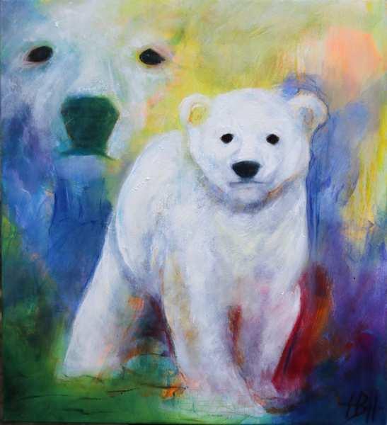 Maleri af isbjørn og unge. De kigger begge to på dig og ungen bevæger sig ud af billedet