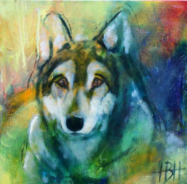 Maleri af ulv som totemdyr og kraftdyr
