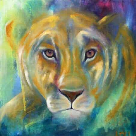 Maleri af puma med øjne, der kigger direkte på dig. Malet i gyldne farver på en blå-grøn baggrund