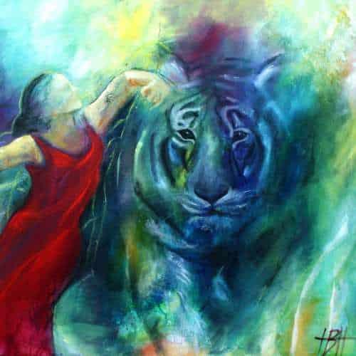 kunstkort 15 X 15 cm med print af maleri af flamencodanser og blå tiger