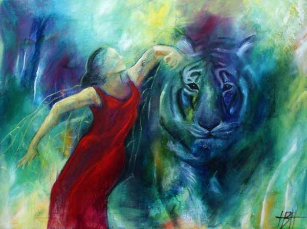 maleri med kvinde der danser med en blå tiger