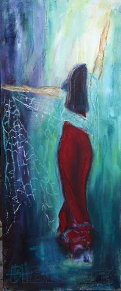 smalt maleri af kvinde der danser med sjal på blå baggrund