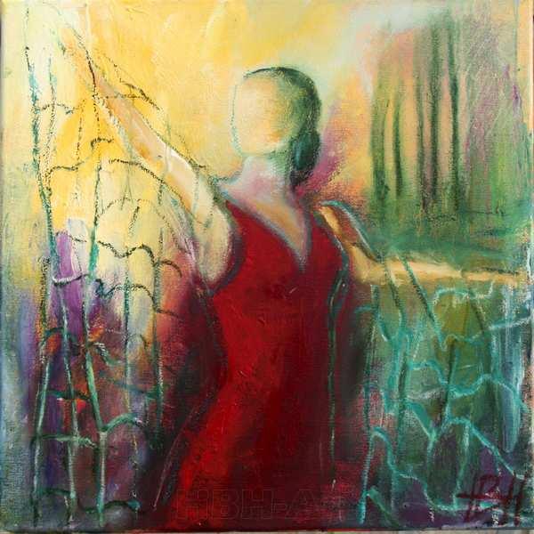 maleri af kvinde med sjal på lys baggrund
