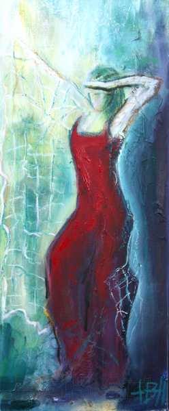 smalt maleri af kvinde der danser med sjal på lys og blå baggrund