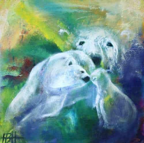 Lille maleri af isbjørnefamilie malet på blå og grøn baggrund i oliefarver på lærred