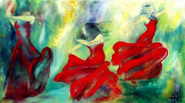 farverigt maleri af dansende kvinder i bevægelse