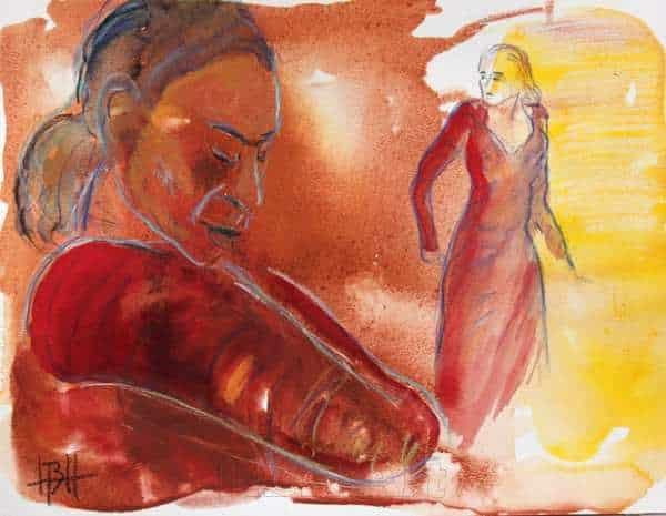 akvarel i varme farver af to flamencodansere - en tæt på og en længere væk