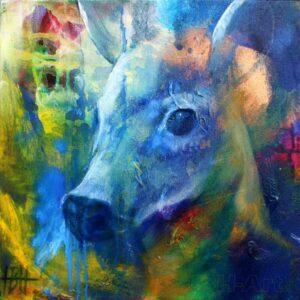 lille maleri i olie på lærred af ung hjort. Den er blå på en farverig baggrund