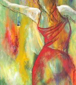 Farverigt abstrakt maleri af kvinde. Maleriet er i smalt højformat og passer på en smal væg
