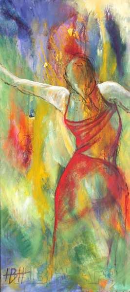 Farverigt abstrakt maleri af kvinde