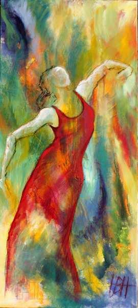 Helbredende kunst - højt og smalt maleri af kvinde som et abstrakt maleri