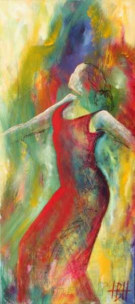 Farverigt Abstrakt maleri af flamencodanser. Maleriet er i smalt højformat og passer på en smal væg