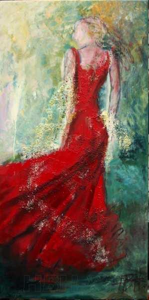 smalt maleri af kvinde i rød kjole