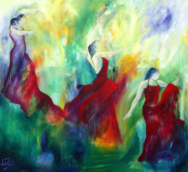 stort maleri af flamencodansere der danser gennem et grønligt fantasilandskab