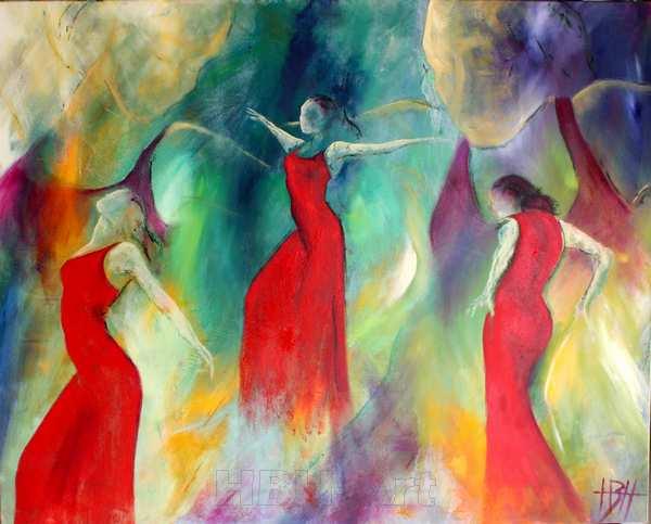 hvad er malerier - maleri af kvinder - tre i hel figur i røde kjoler og to som slørede ansigter