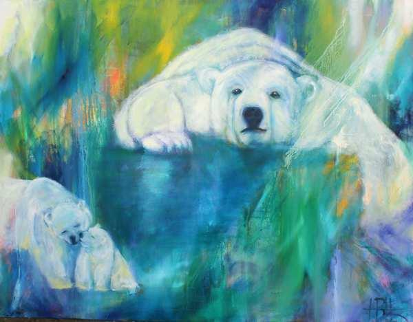 Maleri af isbjørne i blålige farver