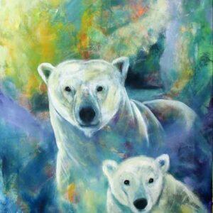maleri af isbjørn og unge i blågrønne farver