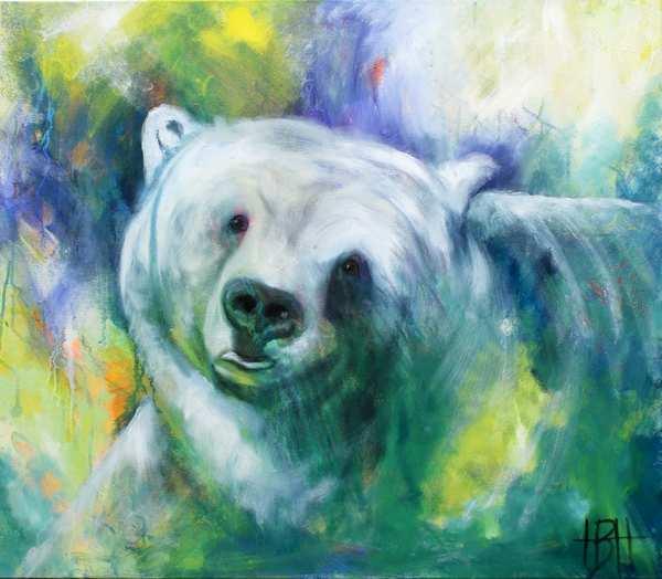 Maleri af bjørn der kigger lige på dig og bevæger sig samme vej. Blå, grønne og gule farver