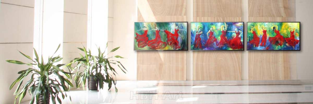Købe store malerier til hjemmet. Tre dansemalerier på en stor væg