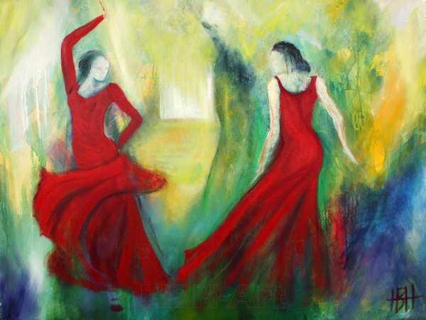 maleri i klare farver af to kvinder der danser over for hinanden