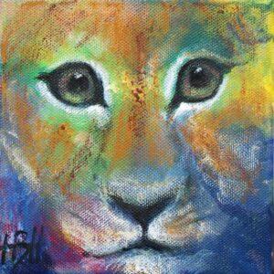 Lille maleri af kat, der kigger direkte på dig.