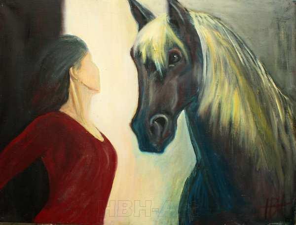 maleri af hest og kvinde