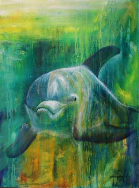 Maleri af delfin under vandet. Delfinen er blålig og havet grønligt