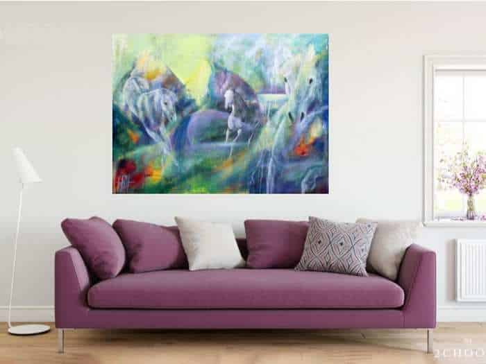 Kunst til stuen - Maleri over sofaen. Hestemaleri malet i olie på lærred.