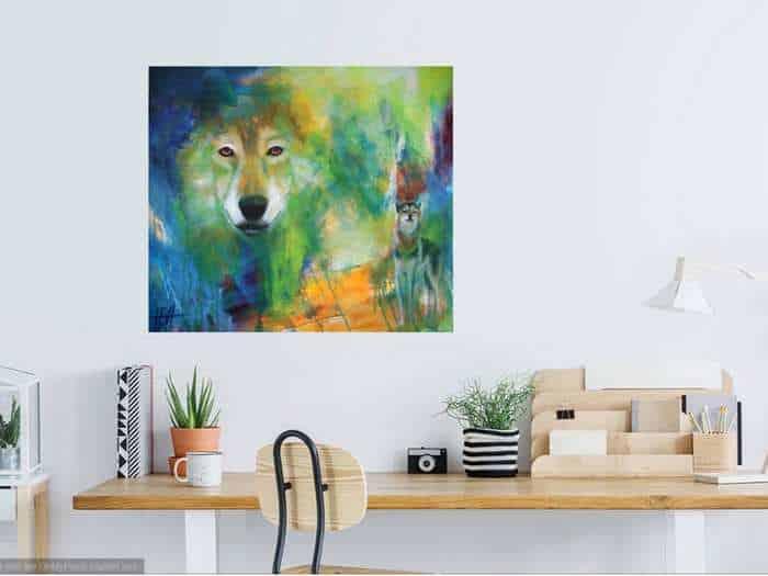 Maleri af ulv på væggen