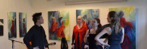 Kunstmaler udstiller. En flamencoforestilling ved ferniseringen i Hundested kunstforening