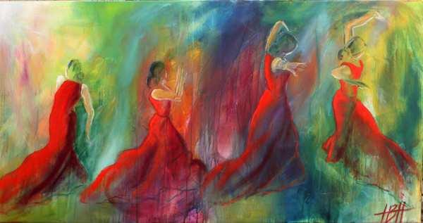 farverigt maleri af dansende kvinder på farverig baggrund