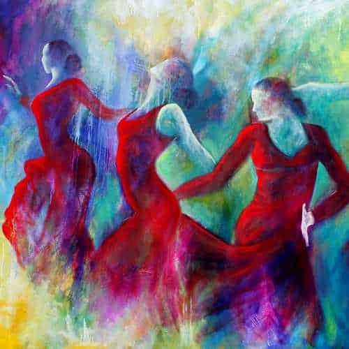 Kvindens kraft kunstkort - kunstkort 15 X 15 cm med print af flamenco dansemaleri af dansere i røde kjoler. Malet i olie på lærred